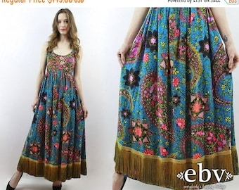 Hippie Dress Hippy Dress Boho Dress Bohemian Dress Festival Dress Fringe Dress 1970s Dress 70s Dress Floral Maxi Dress Psychedelic Dress XS