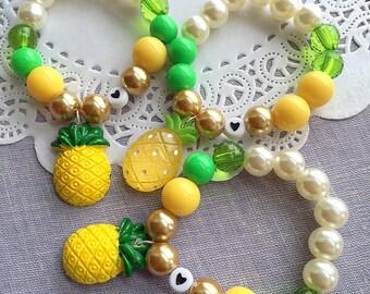 Pineapple party, LAST SET of 3, pineapple bracelet, pineapple birthday favor, summer birthday, beaded bracelet, kids birthday favor.