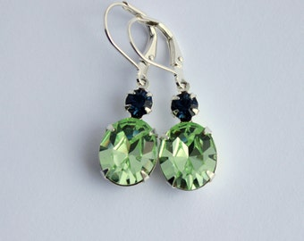 Blue and Green Swarovski earrings, chrysolite earrings, Montana earrings, pale green earrings, dark blue earrings, spring wedding  CMB01
