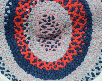 Vintage Red, White and Blue Cotton and Denim Hand Braided Area Rug
