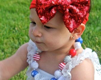 Sequin Headband - Red Headband - Red Headwrap - Red Sequin Headband
