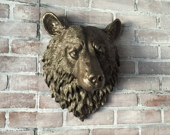 ANY COLOR Faux Bear Head Wall Mount // Faux Taxidermy // Large Fake Animal Head // Wall Sculpture // Brown Bear Trophy // Grizzly // Forest