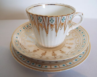 Victorian Teacup and Saucer And Cake Plate With Gold and Turquoise Pattern. English Antique China Tea Cup Trio, Perfect For A Tea Party