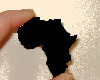 Shape of Africa Pin, Brooch in Black Acrylic, Africa Brooch Pin