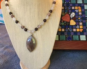 Brown Moonstone Pendant Necklace (23 inches)