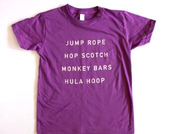 girls shirts - SCHOOL YARD TEE - kids graphic t shirt -  hand printed - girls tops - organic - purple - clothing for girls  - gift for girls