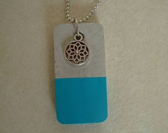 Blue and gray concrete with charm necklace