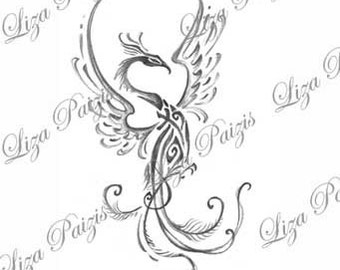 Tribal phoenix dragon black and gray tattoo design