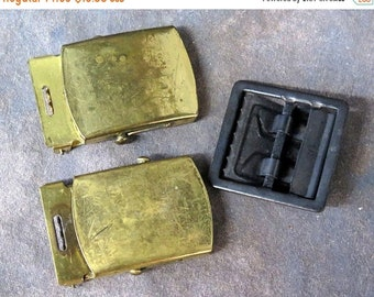 BTS Lot of 3 Army issue Belt buckles Brass and Black
