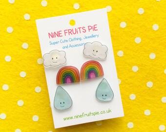 Kawaii April showers 3 pairs stud earrings in bright - rainbow, cloud and raindrop