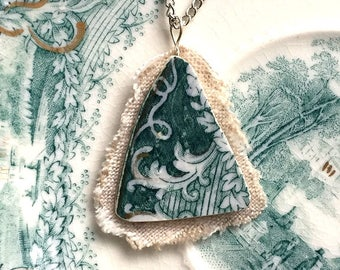 Broken china jewelry pendant necklace with chain antique china shard on linen pendant teal green English transferware Dishfunctional Designs