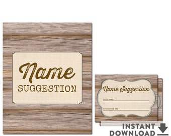 Rustic Baby Shower Game Baby Name Suggestion Sign Rustic Baby Shower Activity and Game • No.709BROWN