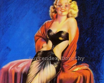 Blonde Bombshell Pinup Poster Print Dancing Darling American Wartime 1940s Billy DeVorss Classic Cheesecake Man-Cave Art