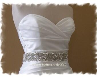 Jeweled Bridal Belt, 19 inch Crystal Pearl Wedding Belt, Pearl Rhinestone Wedding Dress Sash, Pearl Vintage Style Bridal Sash, No. 4069-19