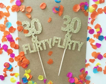Glitter 30th Birthday Cupcake Toppers, 30 and Flirty, dirty 30, 30 something, 30 cupcake toppers, 30 again