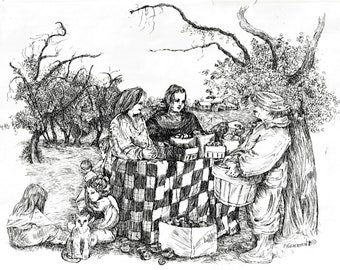 Apple Harvest Art Print,Pen and Ink Drawing,Country People,8X10 handsigned,Home Decor,Rural Scene,Apples,Black and White ,Patty Fleckenstein