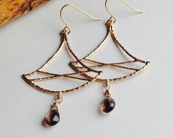 Chandelier Earrings, Gold Plated Earrings, Asian Inspired Earrings, Smokey Quartz, Etsy, Etsy Jewelry