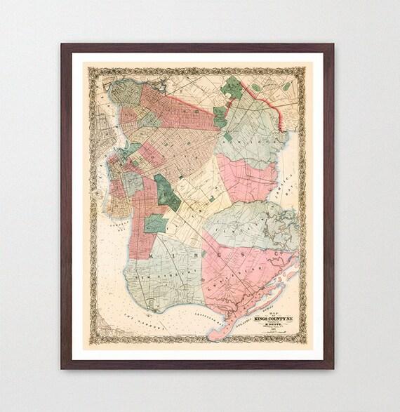 Brooklyn Map - Brooklyn Map Art - Map Decor - New York Map - Brooklyn Art - New York Map Art - Brooklyn Wall Art - Brooklyn - Kings County