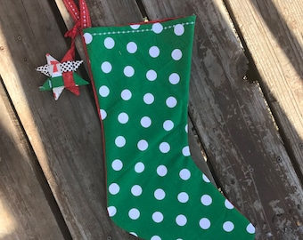 Christmas Stocking in Green Dots and Red Holiday Details with Ornament