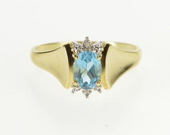 10K Oval Blue Topaz Diamond Semi Halo Curved Ring Size 9.5 Yellow Gold