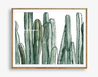 Desert Print   Cactus Print   Horizontal Cactus Art   Boho Style   Boho Chic   Desert Print   Instant Download   Printable Hippie Art  