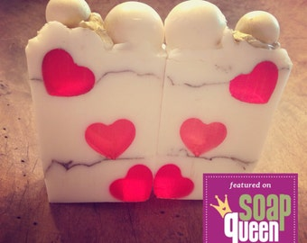 Love and Other Bubbles Hearts Shea Glycerin Soap scented with Cranberry and Fig Silk