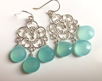 Aqua Chalcedony Countryside Chandelier Earrings