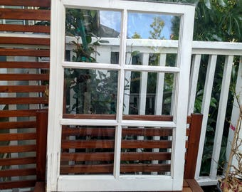 Architectural Salvage Farmhouse Window with Original Hardware, Six Pane White Rustic Window