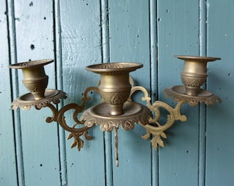 Pair of3 Arm Candle Holder, Brass Candleabras, Wall-mounted Vintage French Candle Holders 0517030-083