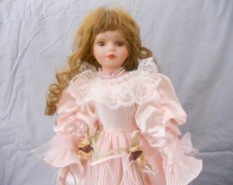 Vintage Victorian J. Misa Collection Porcelain Umbrella Doll in Pink Dress