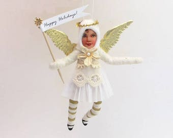 Vintage Inspired Spun Cotton Golden Angel Ornament (MADE TO ORDER)