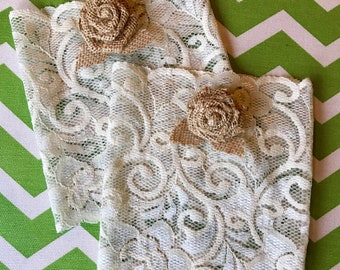 Ivory Lace Boot Cuffs with Burlap Rose