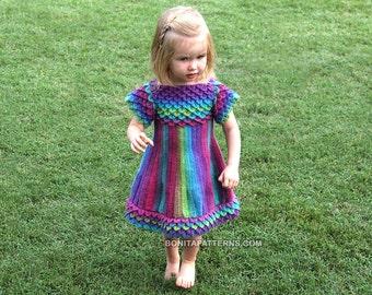 CROCHET PATTERN: Crocodile Dragon Stitch Girly Dress - Permission to Sell Finished Product
