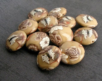 Latte Brown Beads,  Lentil  Beads, Polymer Clay Bead Dozen - Made to Order