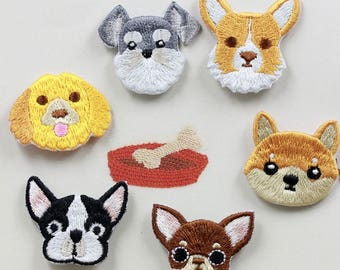 Kawaii dogs Iron on patch,iron on embroidery transfers,iron on labels,iron patches,Dog Embroidered Patch,Dog Iron On Patch,sewing patch