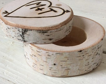 Wedding Ring Box Birch - Rusic Wedding - Ring Bearers Box - Woodland - Elegant Rustic Chic