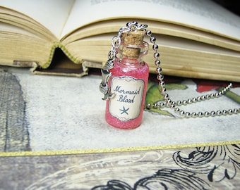 Mermaid Blood 2ml Glass Bottle Necklace Charm - Cork Vial - Ocea Sea Creature
