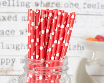Red With White Hearts Paper Straws, Beautiful Straws for Wedding or Birthday Celebration, Heart Straws, Red, Paper Straws, Wedding Straws