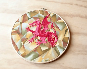 Dragon In A Hoop, Embroidered Dragon, Red Dragon, Textile Dragon, Embroidery 3D Dragon