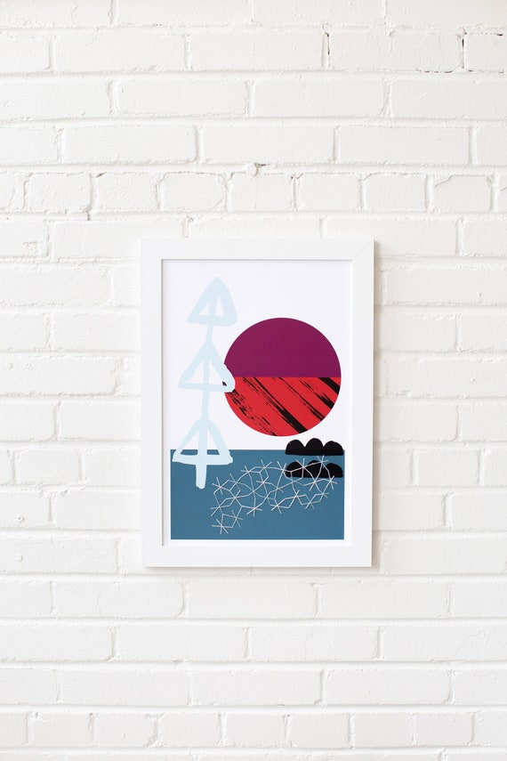 Meeting Point-04 //  LIMITED EDITION // 12x18, Minimalist embroidered poster, mid-century inspiration, geometric shapes, orange, purple