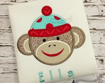 Sock Monkey, Monkey Shirt Embroidered Toddler T-shirt, Embroidered T-shirt