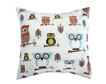 French Country Blue Pillow Covers.Owl Pillows.Mineral Blue Decorative Pillows.Throw Pillows.Robins Egg Blue Pillow.Euro Sham