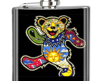 Grateful Dead Flask, Photo Flask, Art Flask, Liquor Flask, Hip Flask - Handmade - DEADHEAD BEAR - Sealed in Resin - 4 sizes