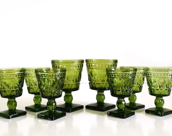 Vintage Colony Park Lane Green Wine Glasses & Water Goblets, set of 8