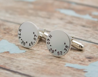 Personalized Latitude Longitude Cuff Links, Coordinate Cufflinks, Personalized Cuff Links, Cuff Links with Box, Men's Gift Father's Day Gift