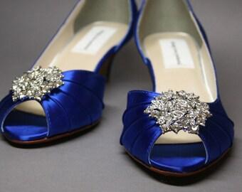Wedding Shoes -- Something Blue Peeptoe Wedding Shoes with Silver Rhinestone Adornment