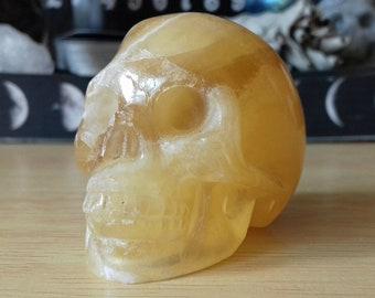 Orange Calcite Crystal Skull Carving - Calcite Skull - Calcite Hand Carved Skull - Crystal Skull - Crystal Decor - Crystal Gift - OC3