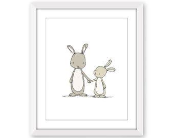 Bunny Nursery Art -- Take My Hand Little Bunny -- Woodland Nursery -- Nursery Art Print -- Children Art Print -- Kids Wall Art