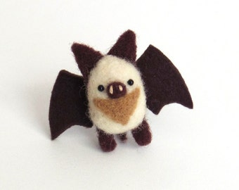 Autumn animal brooch, Needle felted miniature bat pin - white and dark brown, woodland gift, Christmas stocking stuffer