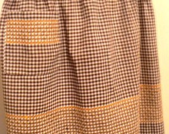 vintage apron ... Brown GINGHAM handworked VINTAGE  APRON  ...